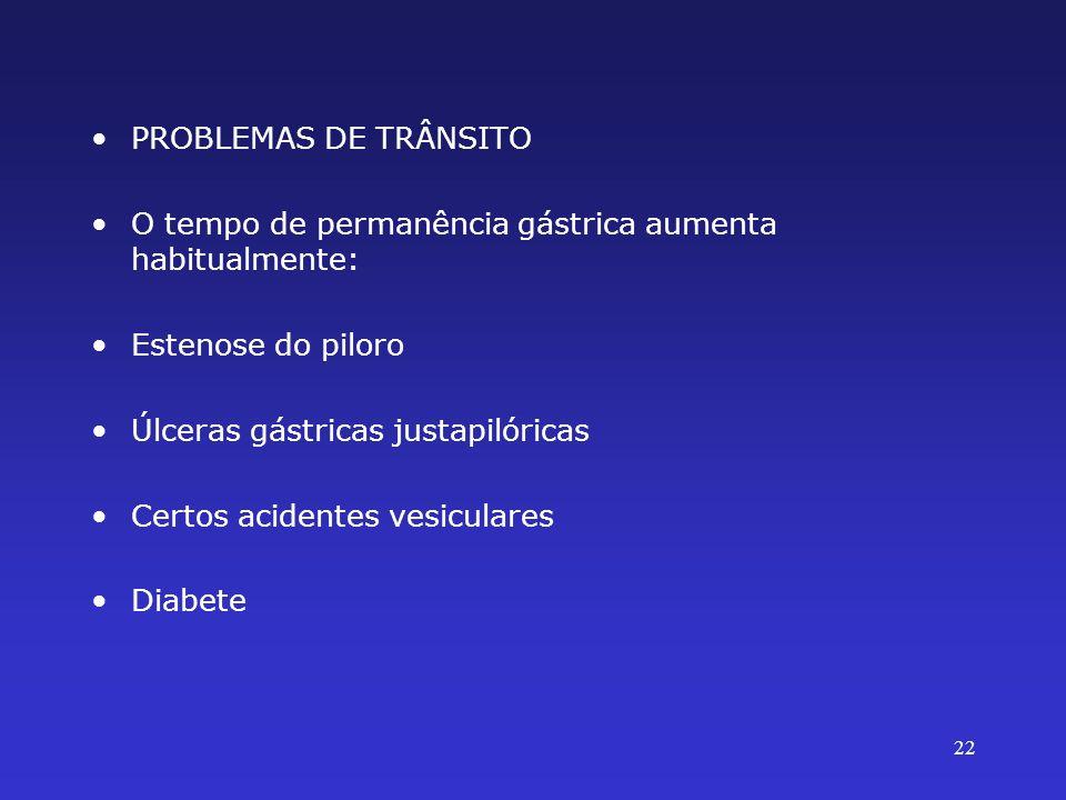 PROBLEMAS DE TRÂNSITO O tempo de permanência gástrica aumenta habitualmente: Estenose do piloro. Úlceras gástricas justapilóricas.