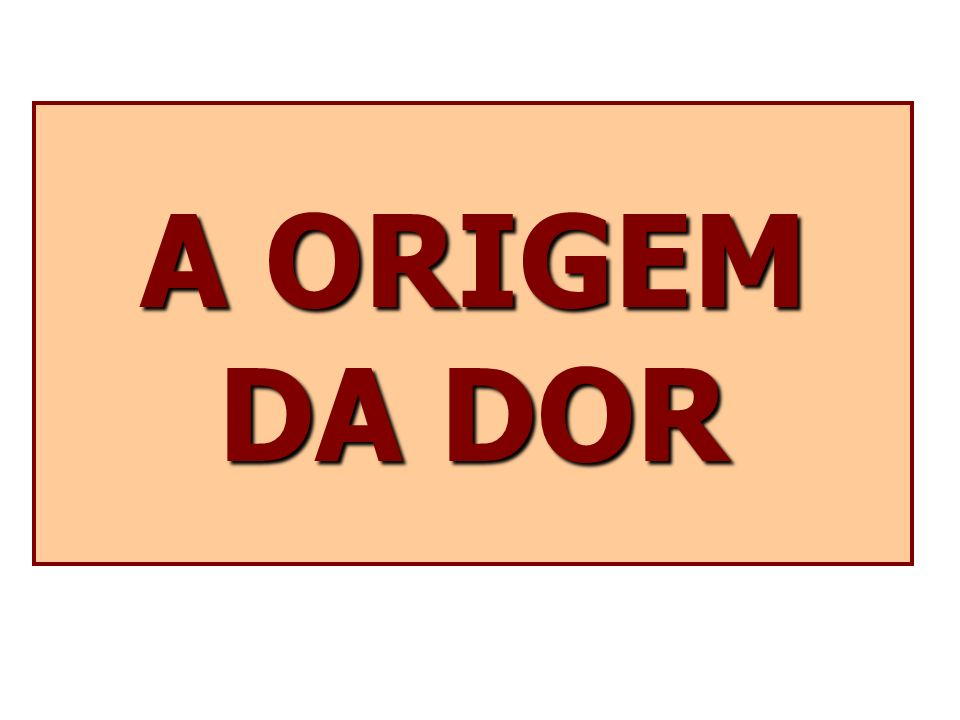 A ORIGEM DA DOR