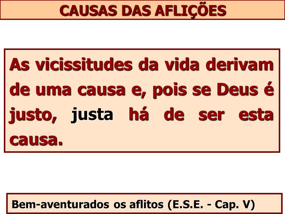CAUSAS DAS AFLIÇÕES As vicissitudes da vida derivam de uma causa e, pois se Deus é justo, justa há de ser esta causa.