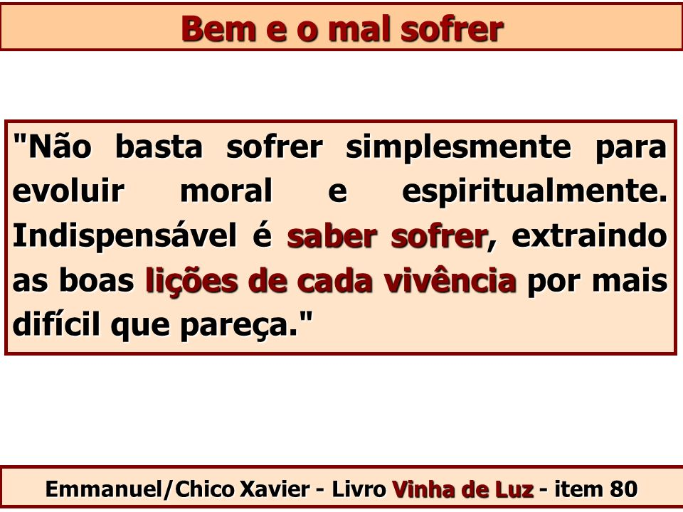 Emmanuel/Chico Xavier - Livro Vinha de Luz - item 80