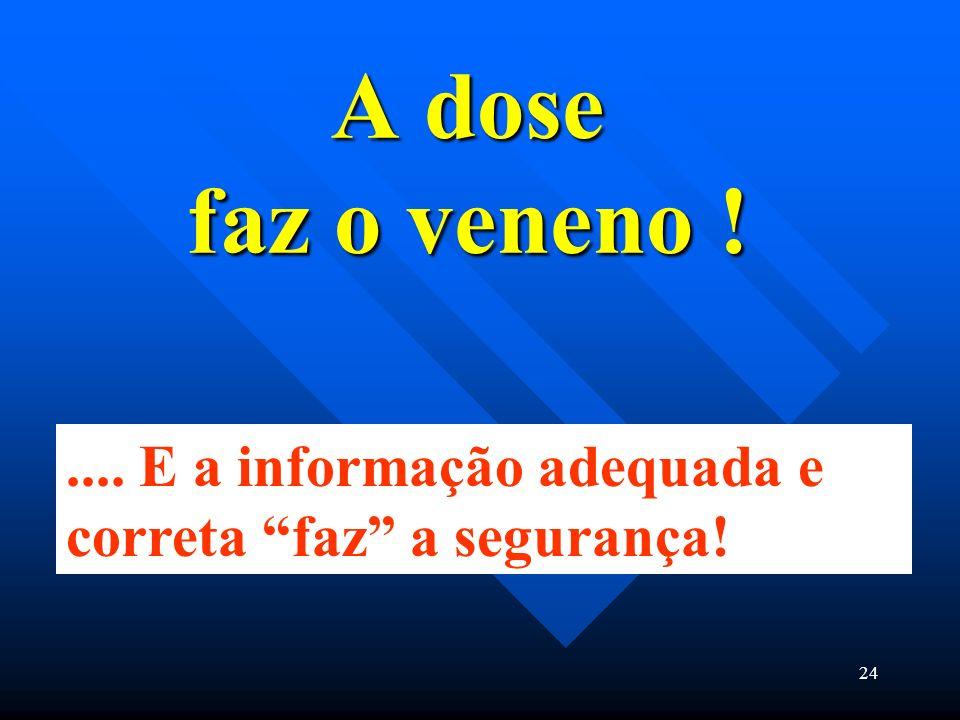 A dose faz o veneno ! .... E a informação adequada e correta faz a segurança!