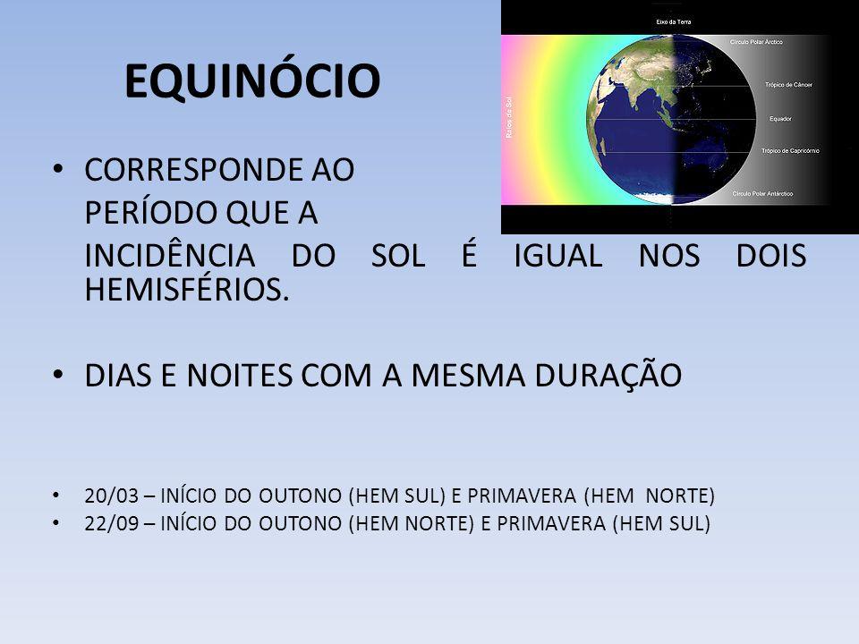 EQUINÓCIO CORRESPONDE AO PERÍODO QUE A