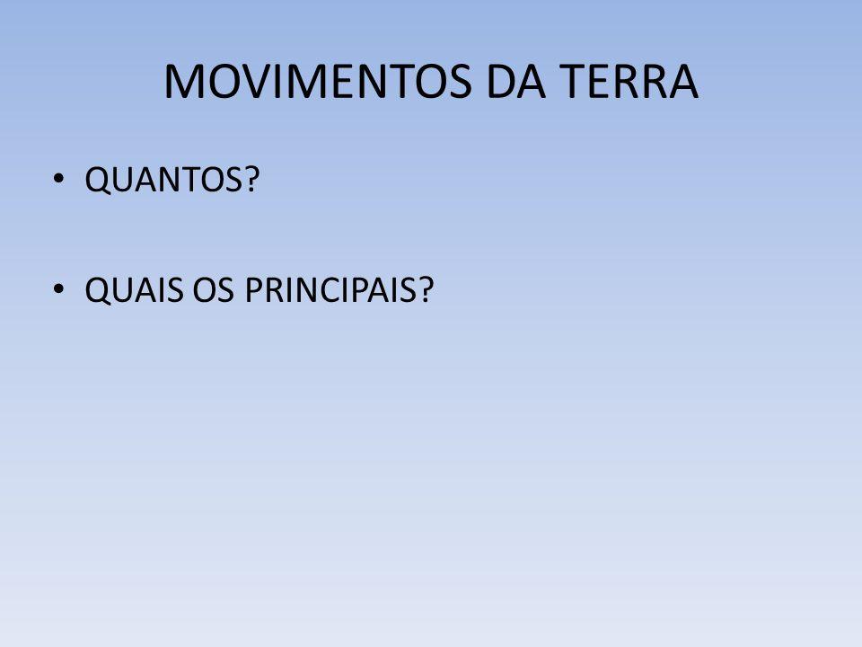 MOVIMENTOS DA TERRA QUANTOS QUAIS OS PRINCIPAIS