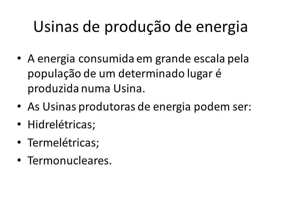 Usinas de produção de energia