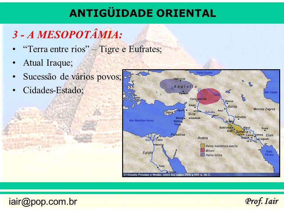 3 - A MESOPOTÂMIA: Terra entre rios – Tigre e Eufrates;