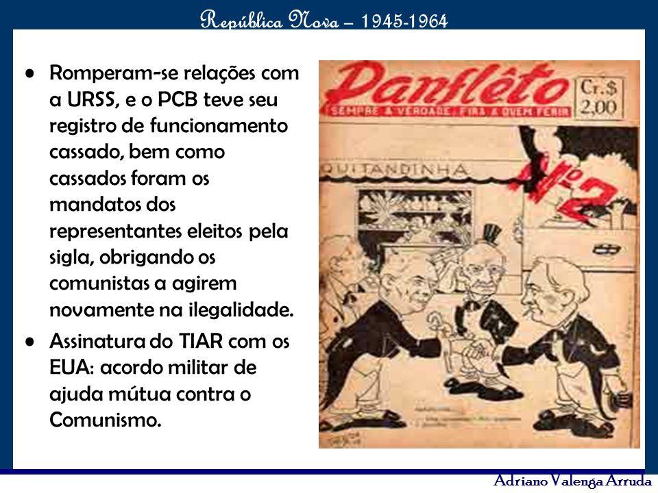 Romperam-se relações com a URSS, e o PCB teve seu registro de funcionamento cassado, bem como cassados foram os mandatos dos representantes eleitos pela sigla, obrigando os comunistas a agirem novamente na ilegalidade.