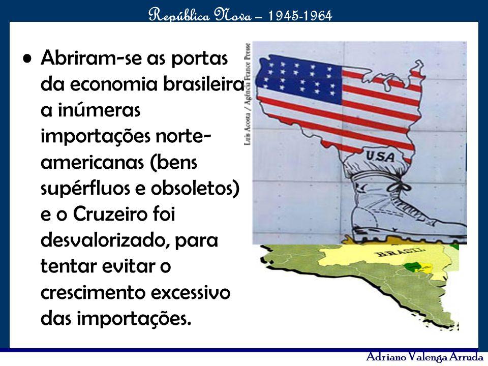 Abriram-se as portas da economia brasileira a inúmeras importações norte-americanas (bens supérfluos e obsoletos) e o Cruzeiro foi desvalorizado, para tentar evitar o crescimento excessivo das importações.
