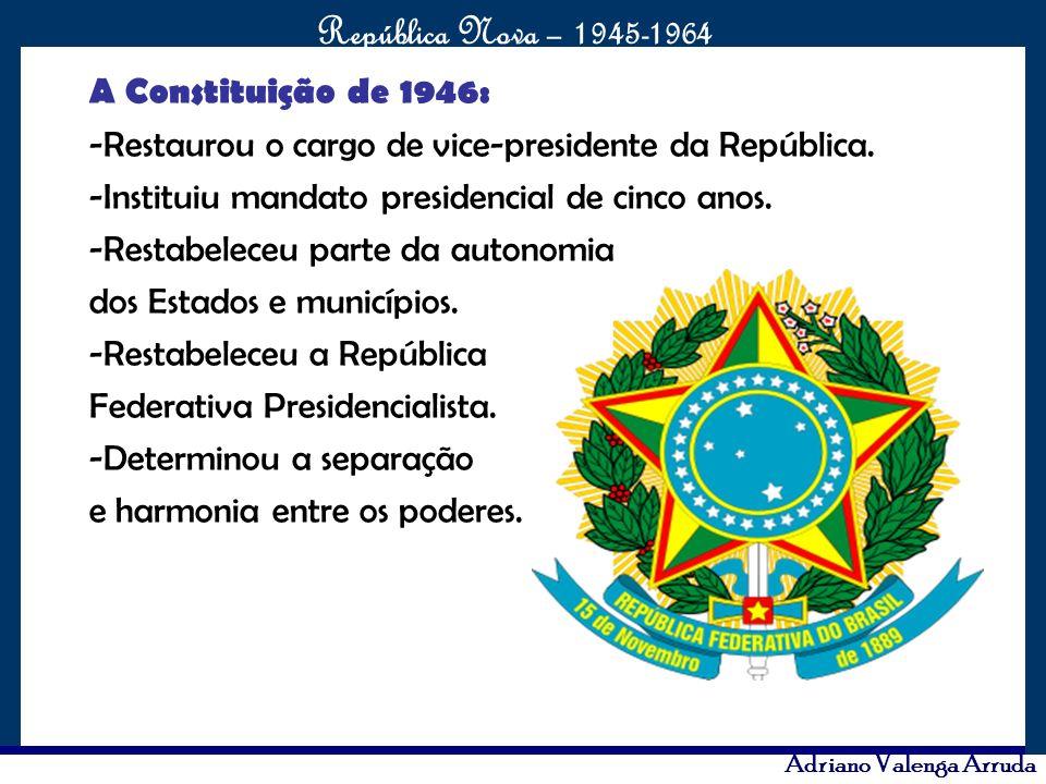 A Constituição de 1946: -Restaurou o cargo de vice-presidente da República. -Instituiu mandato presidencial de cinco anos.