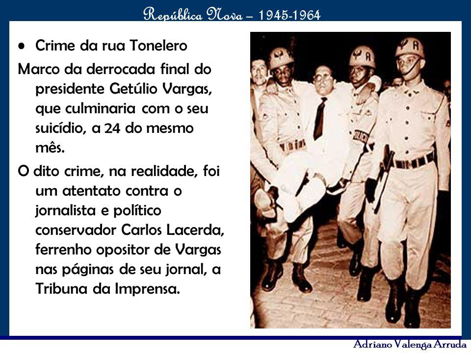 Crime da rua Tonelero Marco da derrocada final do presidente Getúlio Vargas, que culminaria com o seu suicídio, a 24 do mesmo mês.