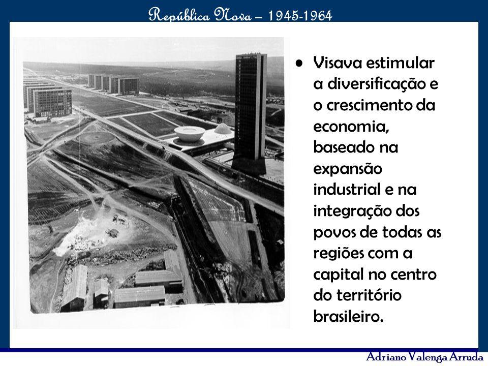 Visava estimular a diversificação e o crescimento da economia, baseado na expansão industrial e na integração dos povos de todas as regiões com a capital no centro do território brasileiro.