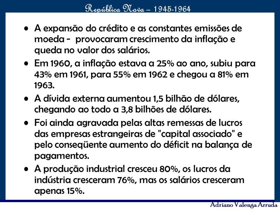A expansão do crédito e as constantes emissões de moeda - provocaram crescimento da inflação e queda no valor dos salários.