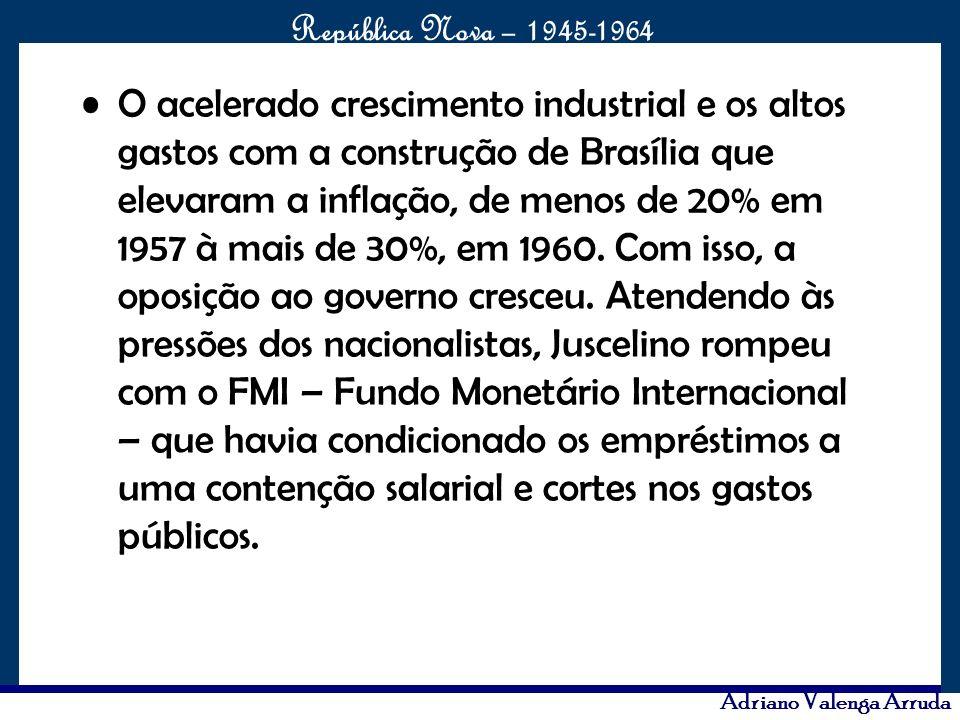 O acelerado crescimento industrial e os altos gastos com a construção de Brasília que elevaram a inflação, de menos de 20% em 1957 à mais de 30%, em 1960.