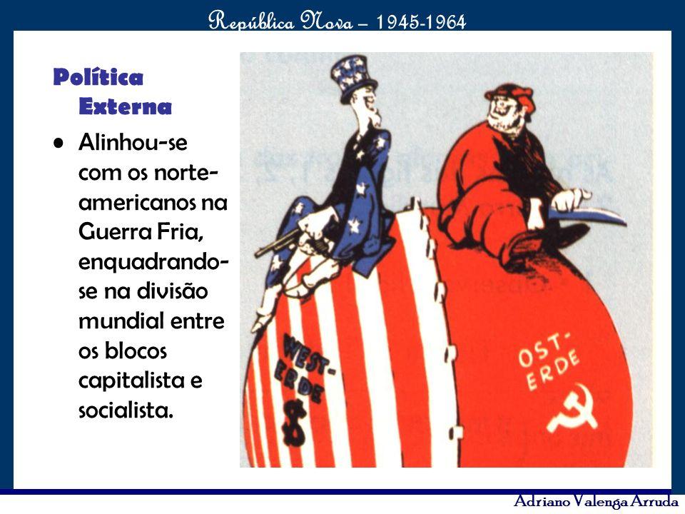 Política Externa Alinhou-se com os norte-americanos na Guerra Fria, enquadrando-se na divisão mundial entre os blocos capitalista e socialista.
