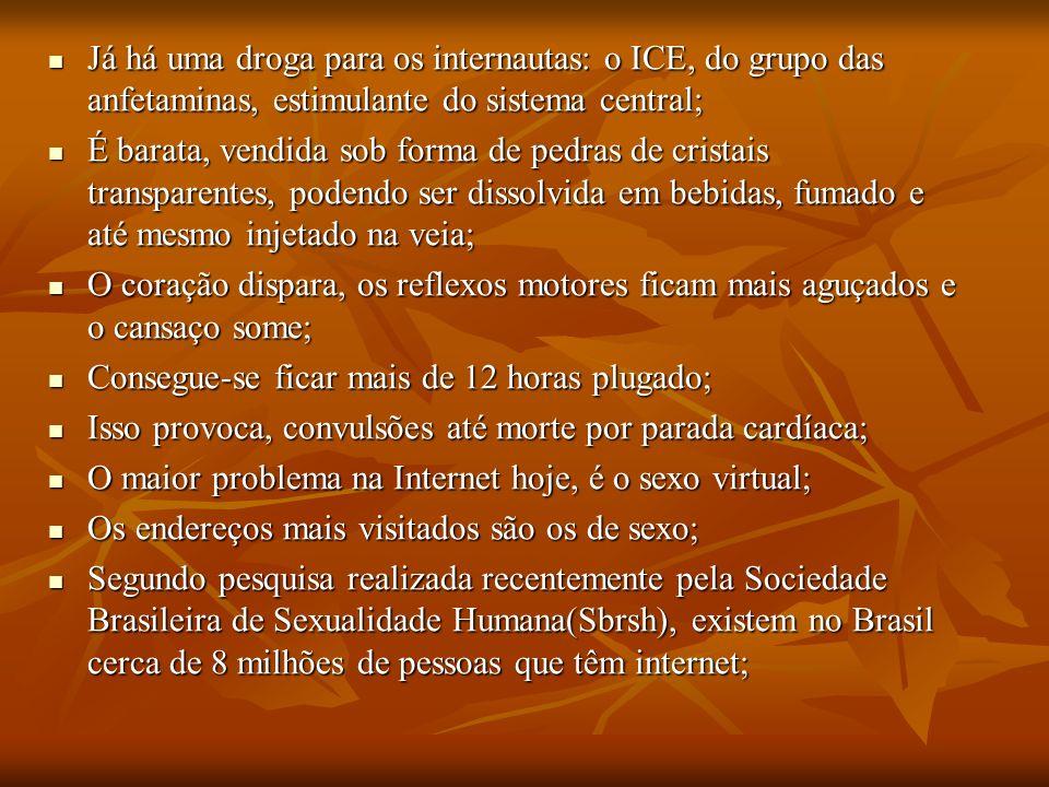 Já há uma droga para os internautas: o ICE, do grupo das anfetaminas, estimulante do sistema central;