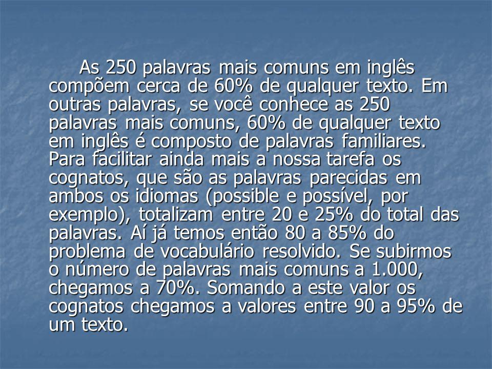 As 250 palavras mais comuns em inglês compõem cerca de 60% de qualquer texto.