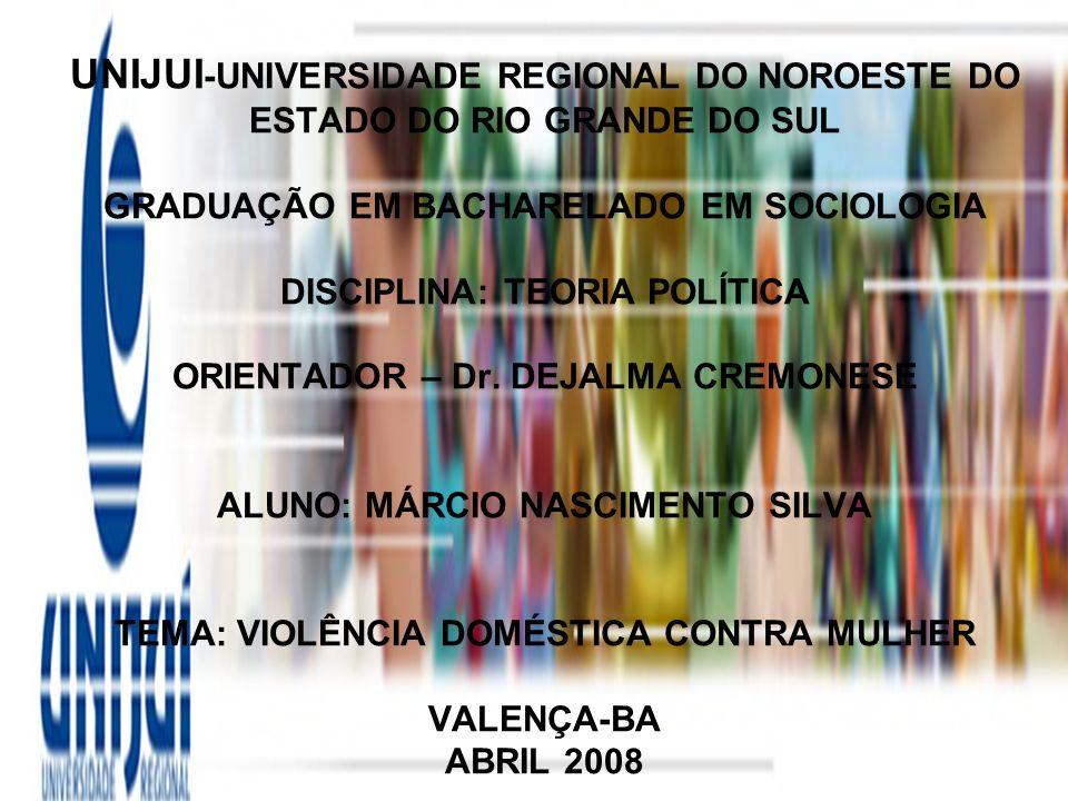 UNIJUI-UNIVERSIDADE REGIONAL DO NOROESTE DO ESTADO DO RIO GRANDE DO SUL GRADUAÇÃO EM BACHARELADO EM SOCIOLOGIA DISCIPLINA: TEORIA POLÍTICA ORIENTADOR – Dr.