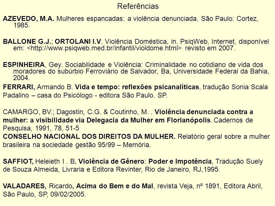 ReferênciasAZEVEDO, M.A. Mulheres espancadas: a violência denunciada. São Paulo: Cortez, 1985.