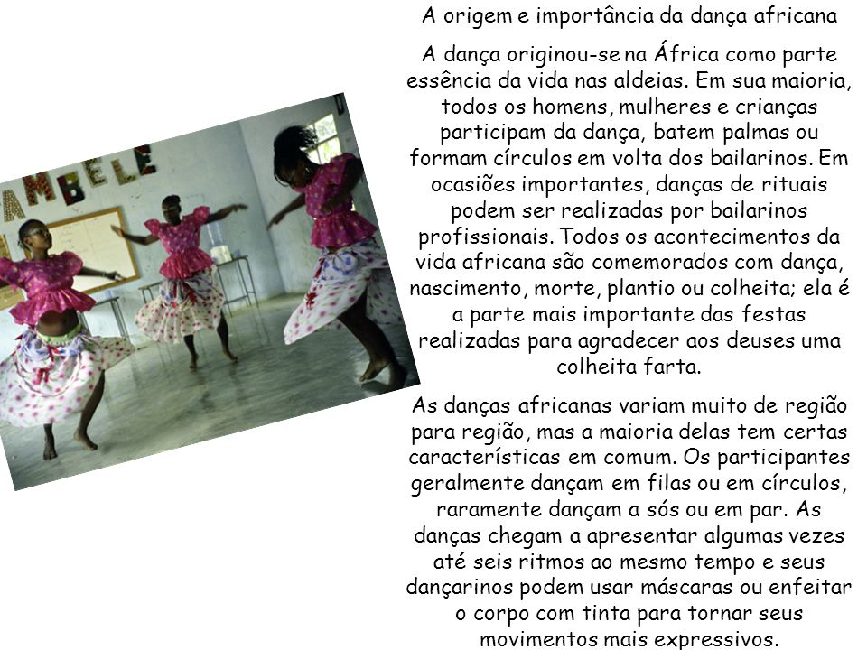 A origem e importância da dança africana