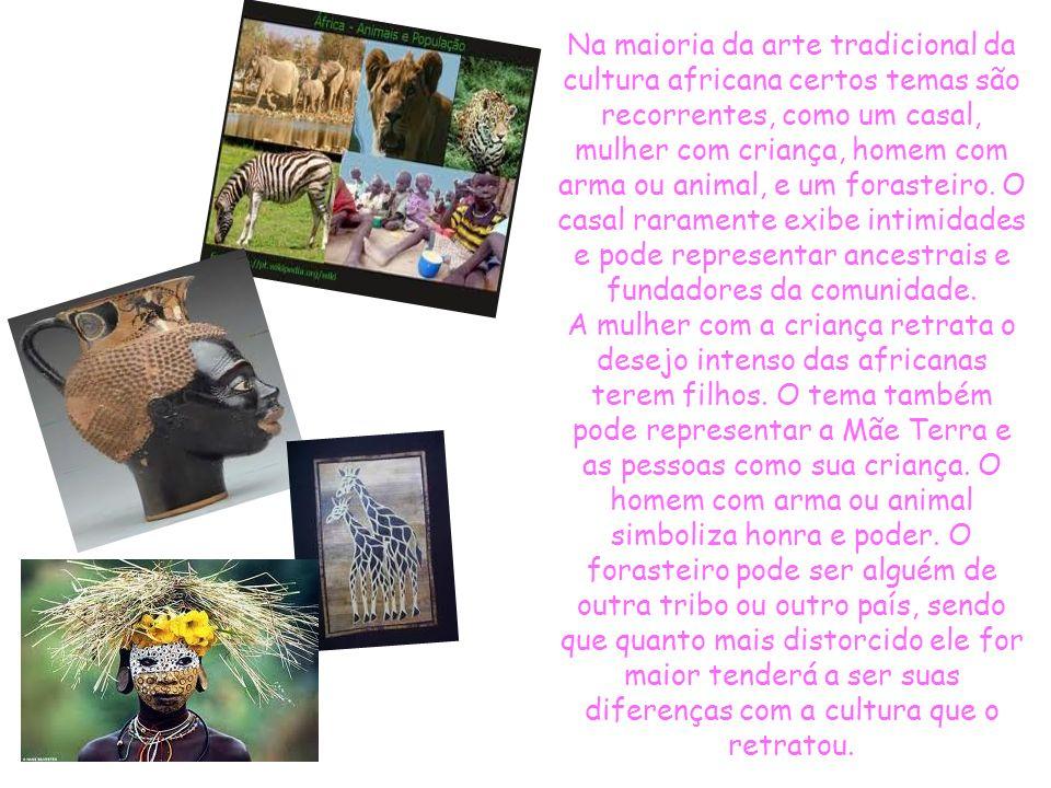 Na maioria da arte tradicional da cultura africana certos temas são recorrentes, como um casal, mulher com criança, homem com arma ou animal, e um forasteiro. O casal raramente exibe intimidades e pode representar ancestrais e fundadores da comunidade.