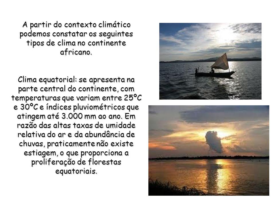 A partir do contexto climático podemos constatar os seguintes tipos de clima no continente africano.