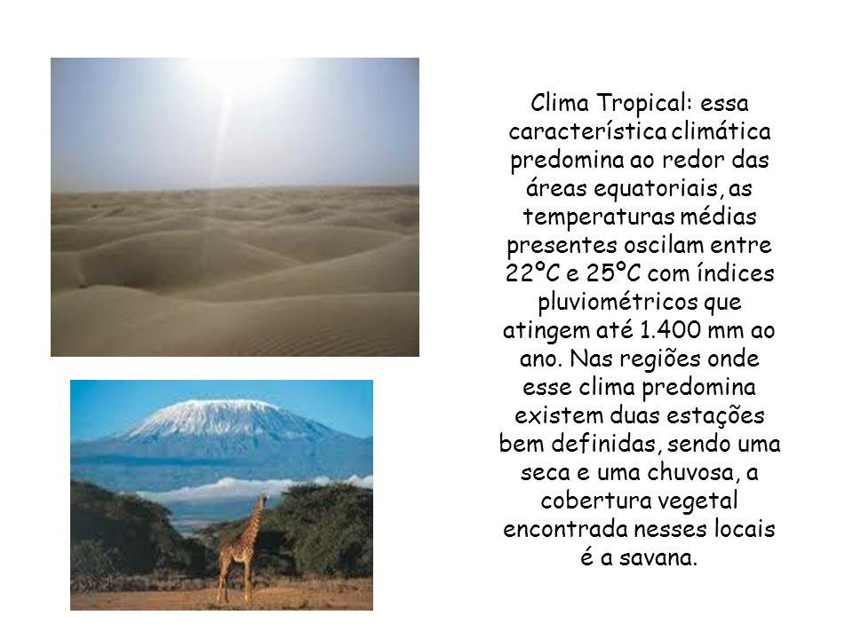 Clima Tropical: essa característica climática predomina ao redor das áreas equatoriais, as temperaturas médias presentes oscilam entre 22ºC e 25ºC com índices pluviométricos que atingem até 1.400 mm ao ano.