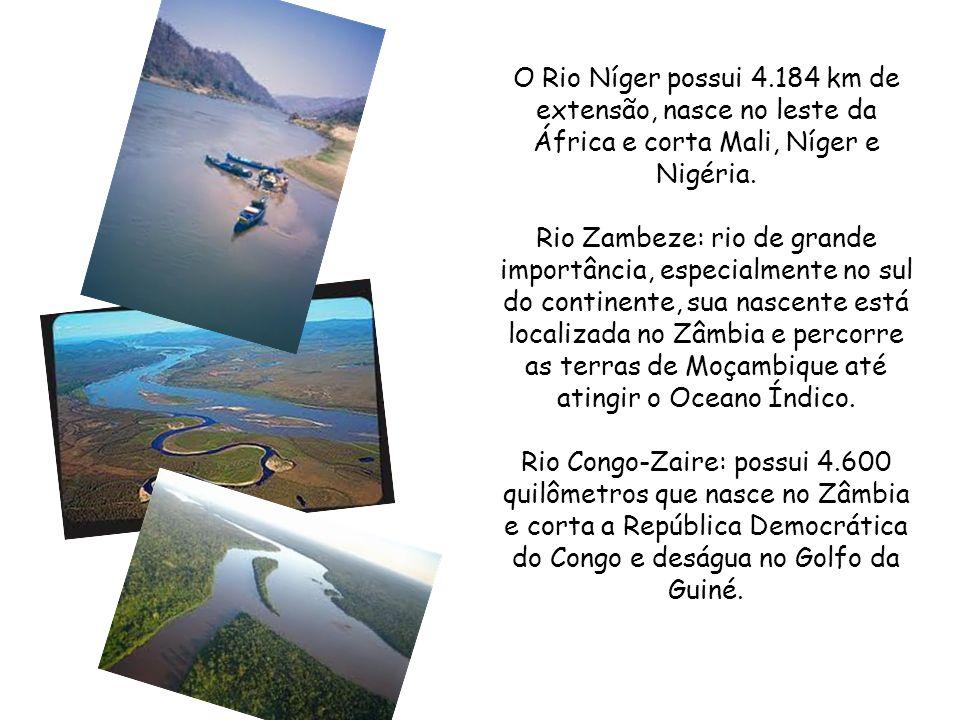 O Rio Níger possui 4.184 km de extensão, nasce no leste da África e corta Mali, Níger e Nigéria.