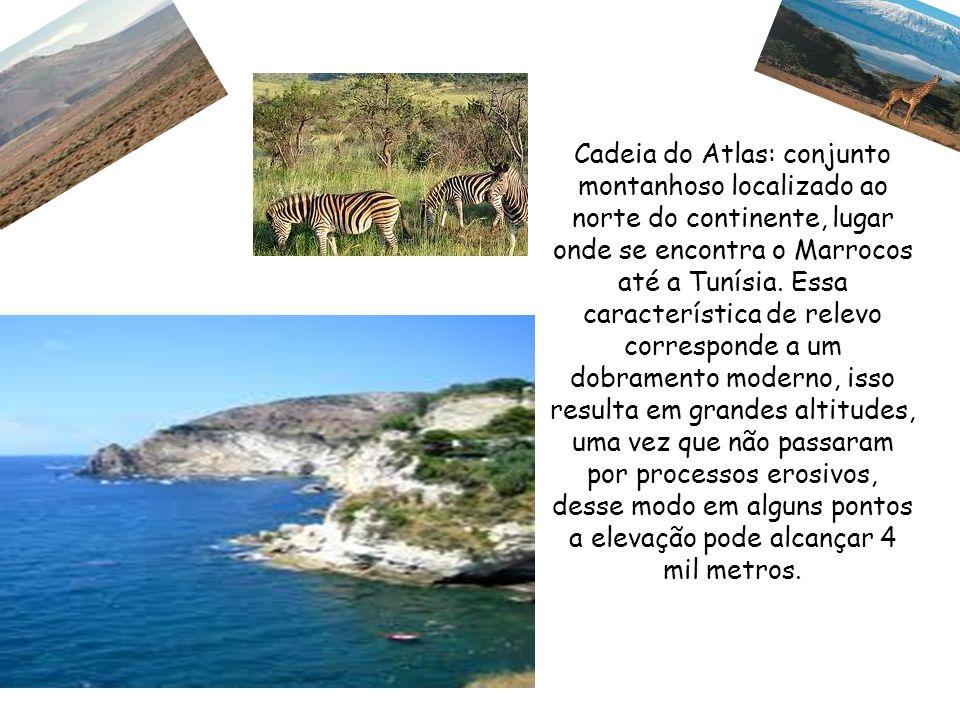 Cadeia do Atlas: conjunto montanhoso localizado ao norte do continente, lugar onde se encontra o Marrocos até a Tunísia.