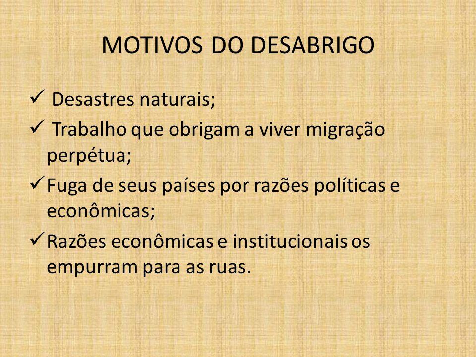MOTIVOS DO DESABRIGO Desastres naturais;