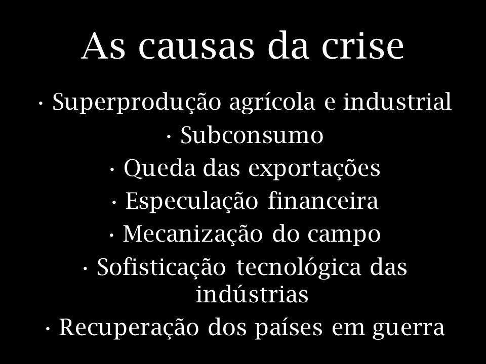 As causas da crise Superprodução agrícola e industrial Subconsumo