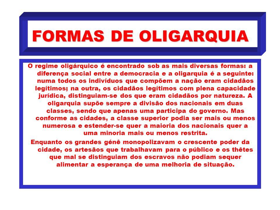 FORMAS DE OLIGARQUIA
