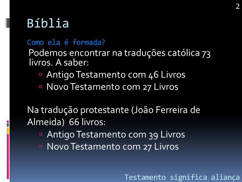 Bíblia Podemos encontrar na traduções católica 73 livros. A saber: