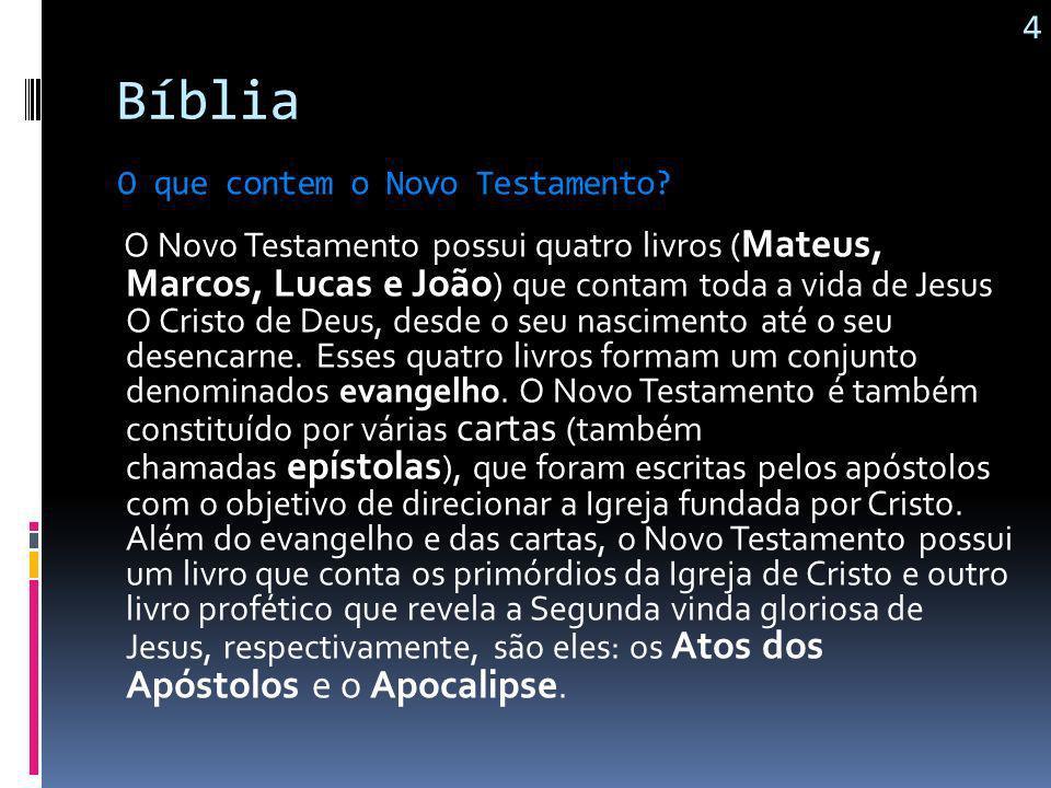 4 Bíblia. O que contem o Novo Testamento