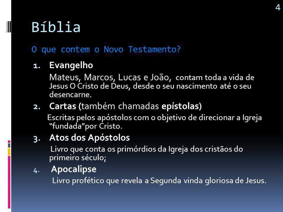 Bíblia Evangelho Cartas (também chamadas epístolas) Atos dos Apóstolos