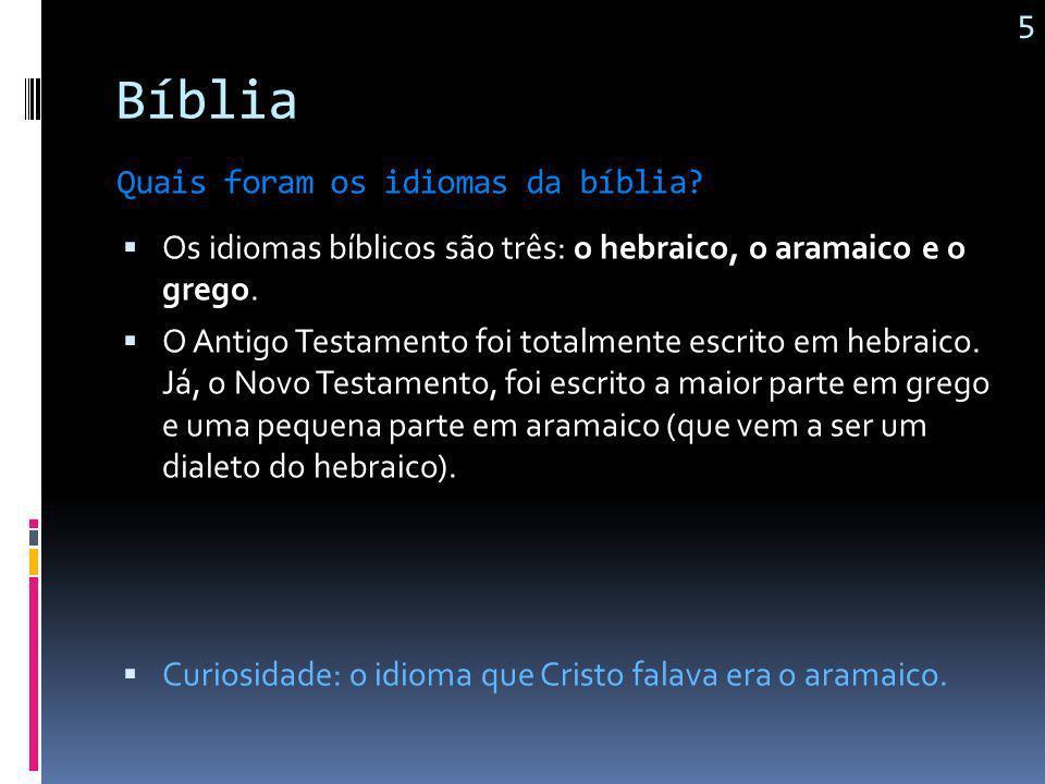 Bíblia 5 Quais foram os idiomas da bíblia