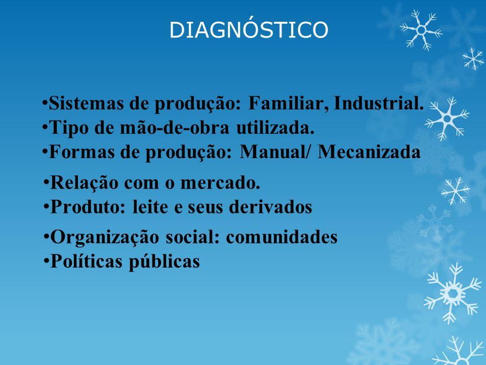 DIAGNÓSTICO Sistemas de produção: Familiar, Industrial.
