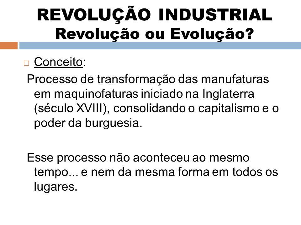 REVOLUÇÃO INDUSTRIAL Revolução ou Evolução