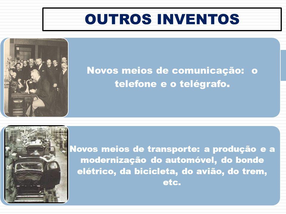 Novos meios de comunicação: o telefone e o telégrafo.
