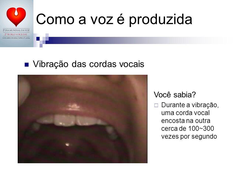 Como a voz é produzida Vibração das cordas vocais Você sabia