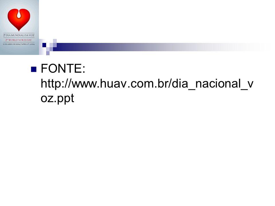 FONTE: http://www.huav.com.br/dia_nacional_voz.ppt