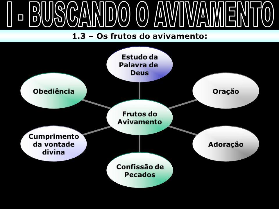 I - BUSCANDO O AVIVAMENTO 1.3 – Os frutos do avivamento: