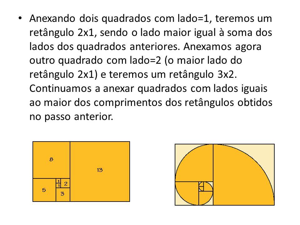 Anexando dois quadrados com lado=1, teremos um retângulo 2x1, sendo o lado maior igual à soma dos lados dos quadrados anteriores.