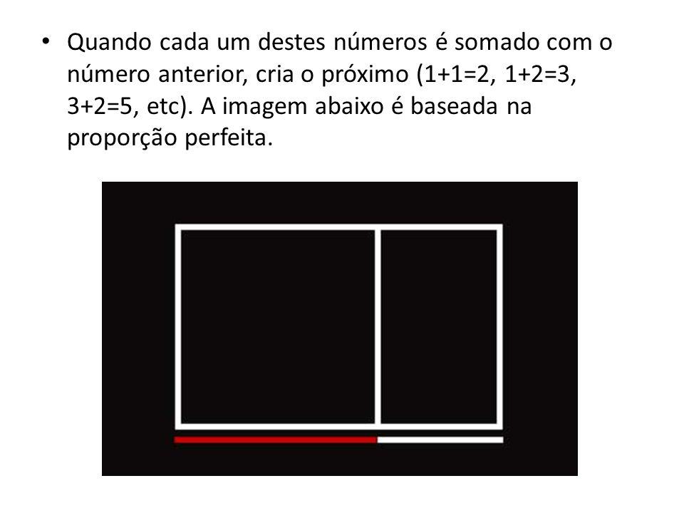 Quando cada um destes números é somado com o número anterior, cria o próximo (1+1=2, 1+2=3, 3+2=5, etc).