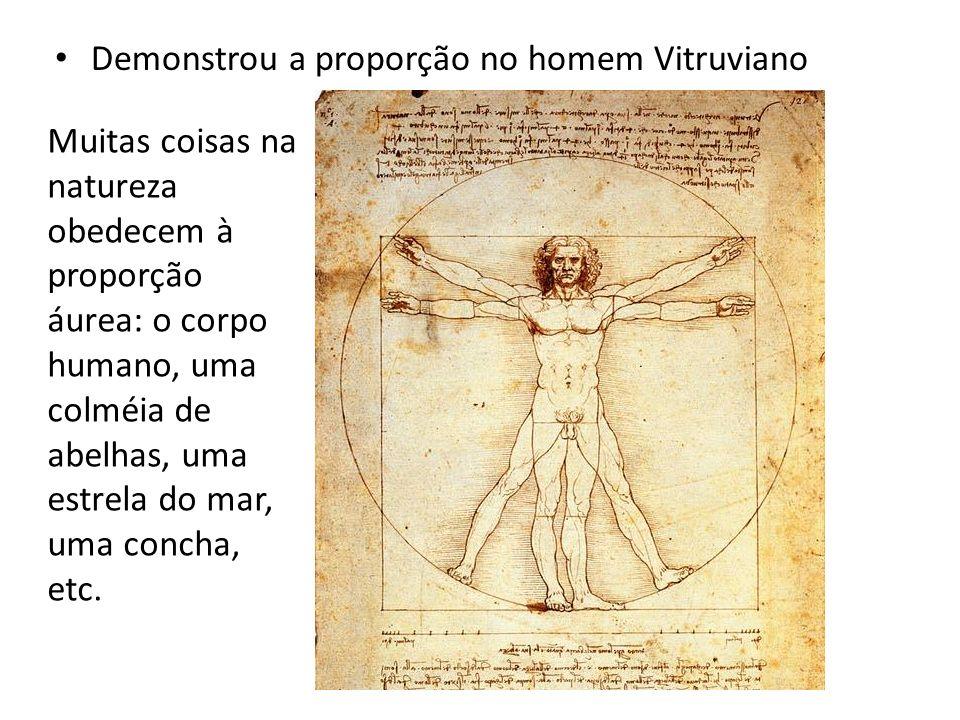 Demonstrou a proporção no homem Vitruviano