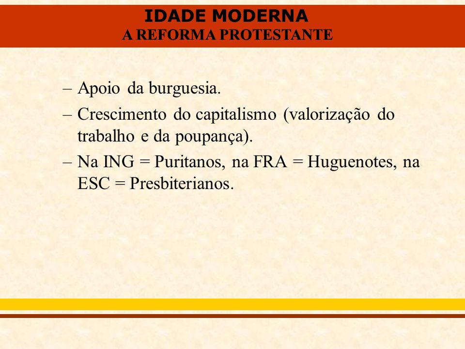 Apoio da burguesia. Crescimento do capitalismo (valorização do trabalho e da poupança).