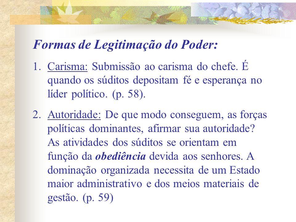 Formas de Legitimação do Poder: