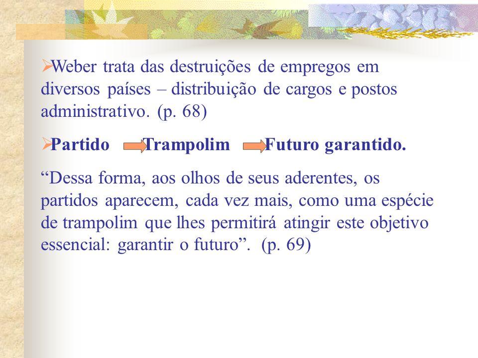 Weber trata das destruições de empregos em diversos países – distribuição de cargos e postos administrativo. (p. 68)