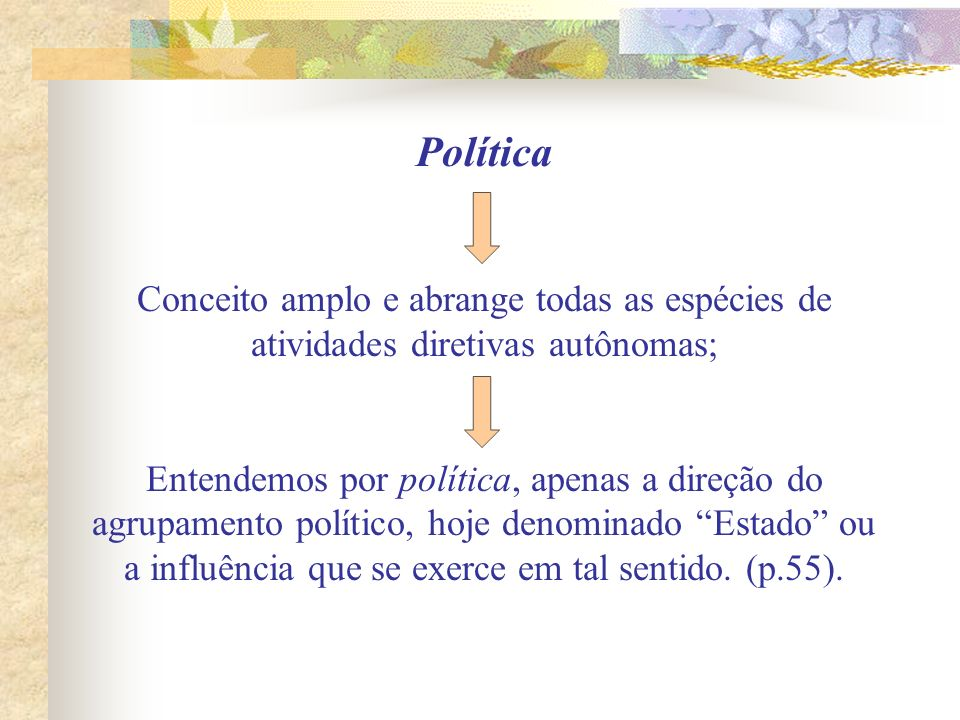 Política Conceito amplo e abrange todas as espécies de atividades diretivas autônomas;