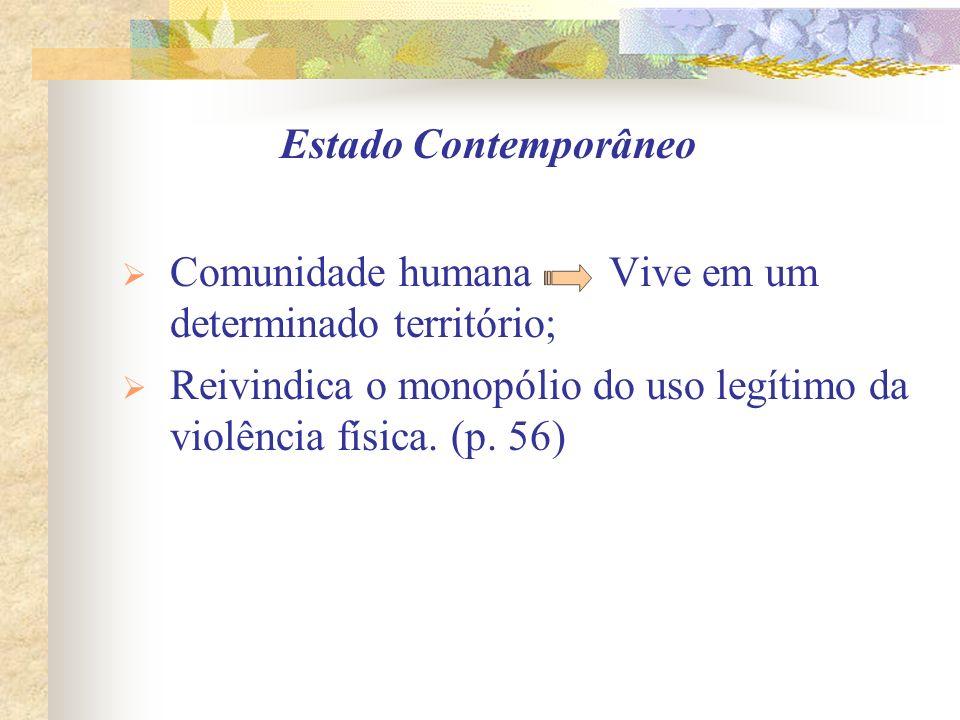 Estado Contemporâneo Comunidade humana Vive em um determinado território; Reivindica o monopólio do uso legítimo da violência física.