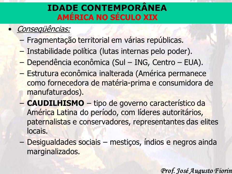 Conseqüências:Fragmentação territorial em várias repúblicas. Instabilidade política (lutas internas pelo poder).