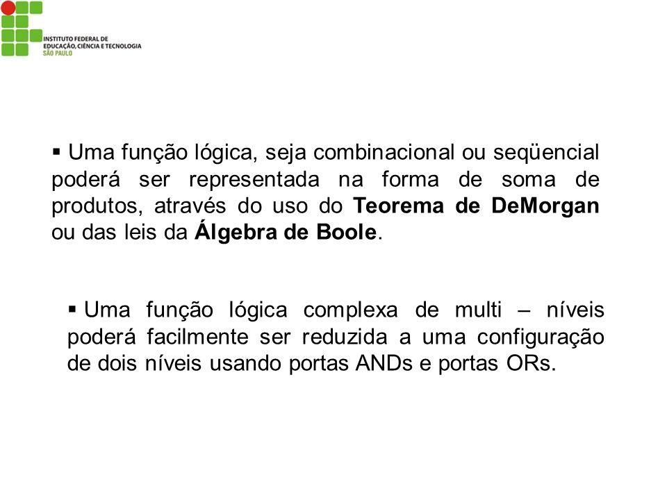 Uma função lógica, seja combinacional ou seqüencial poderá ser representada na forma de soma de produtos, através do uso do Teorema de DeMorgan ou das leis da Álgebra de Boole.